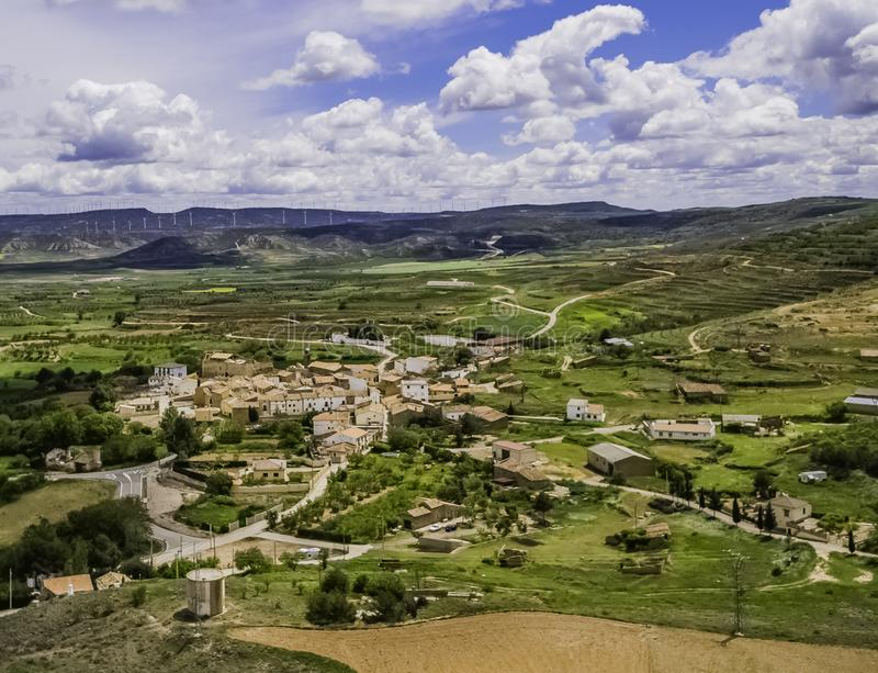 Aerial view of the town of grisel in zaragoza stock photography