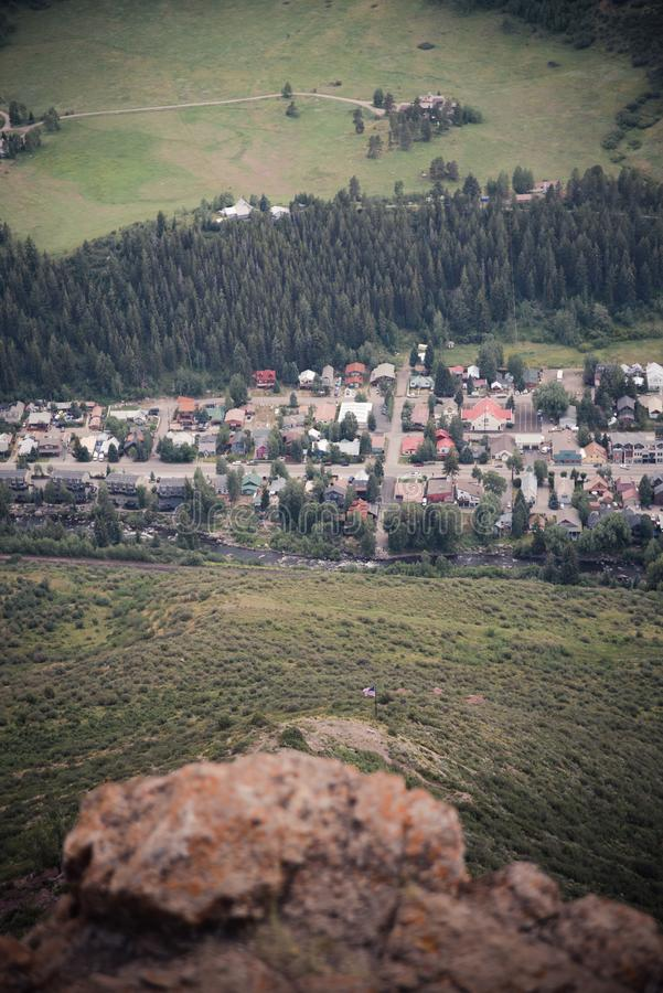 Aerial view of a mountain town in Colorado. Aerial view of the town of Minturn, Colorado during the summer stock photo