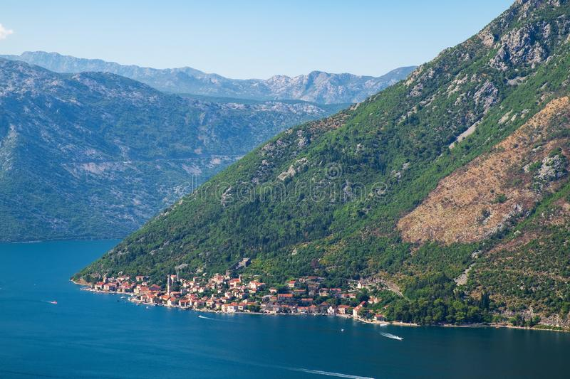 Aerial view of town Perast stock image