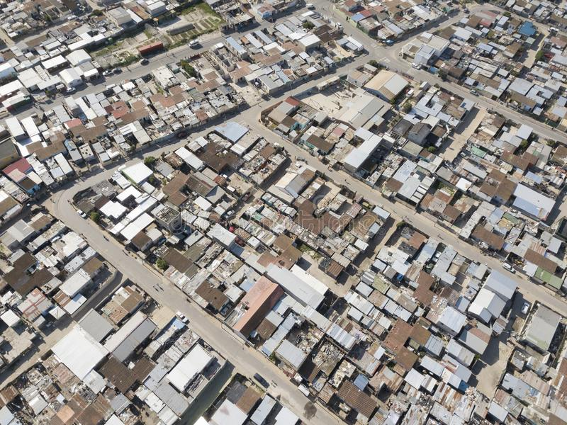 Aerial view of township, South Africa stock photos