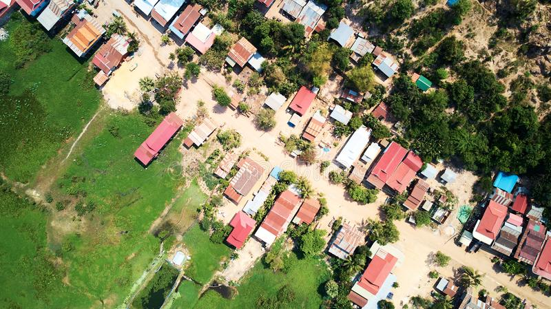 Aerial view of traditionnal village in Siem-Reap, Cambodia. Drone Aerial view of traditionnal village in Siem-Reap, Cambodia stock images