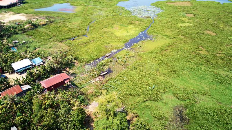 Aerial view of traditionnal village in Siem-Reap, Cambodia. Drone Aerial view of traditionnal village in Siem-Reap, Cambodia stock image