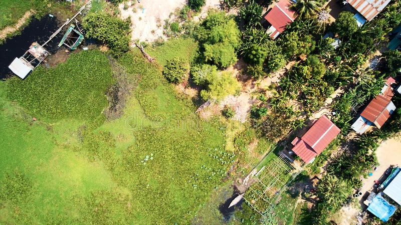Aerial view of traditionnal village in Siem-Reap, Cambodia. Drone Aerial view of traditionnal village in Siem-Reap, Cambodia royalty free stock images