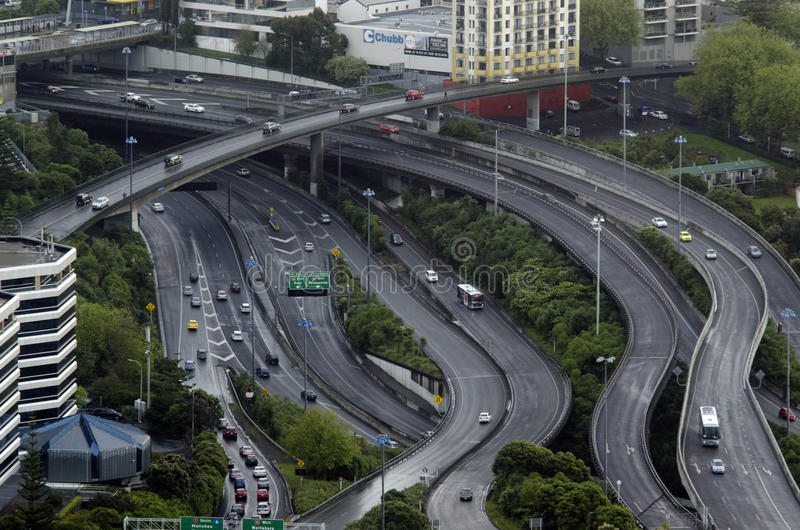 Aerial view of traffic on Auckland inner city road