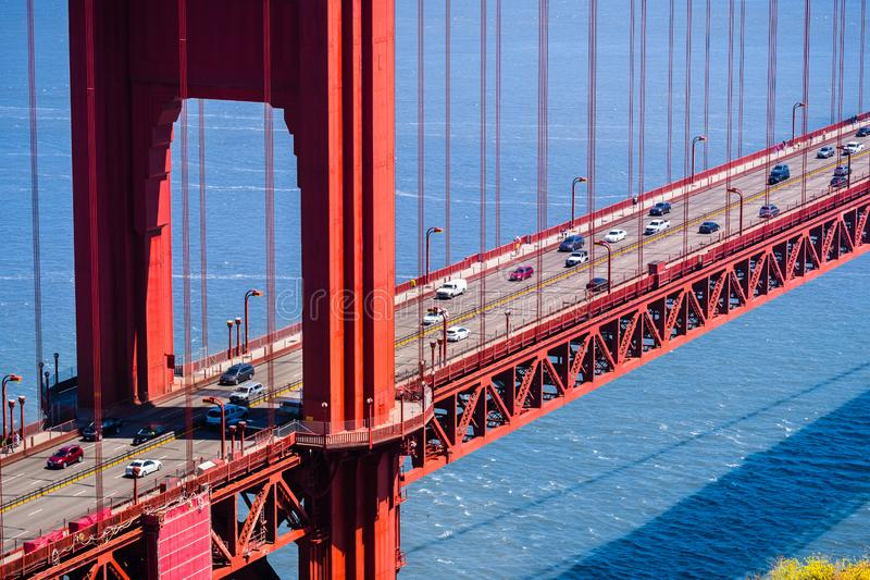 Aerial view of traffic on Golden Gate Bridge, San Francisco, California stock images