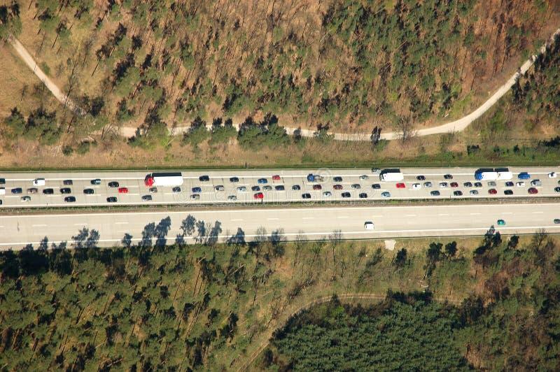 Aerial view of traffic jam stock photo