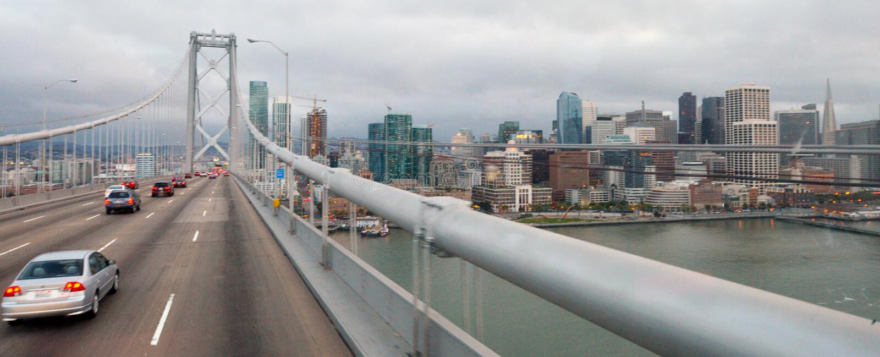 Aerial view of traffic on Oakland Bay Bridge towards San Francis stock image
