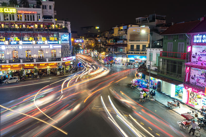 Aerial view of traffic at old quarter in Hanoi, Vietnam at night royalty free stock photography