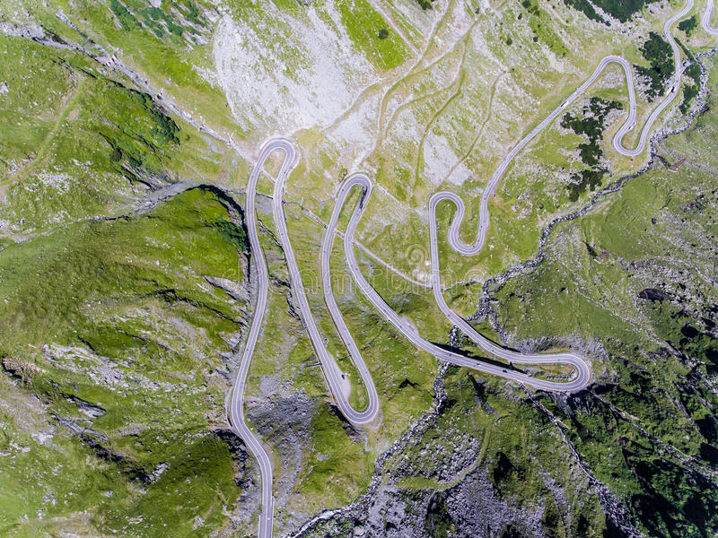 Aerial view of Transfagarasan mountain road in Romania. Viewed from above top down view stock image