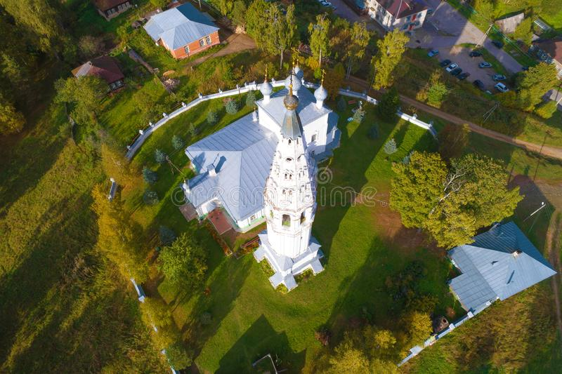 Aerial view of the Transfiguration Cathedral shooting from a quadrocopter. Sudislavl, Russia stock photography