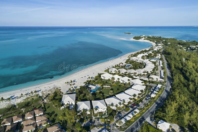 Treasure Cay Resort Beach 1. Aerial view of the Treasure Cay Resort beach on the island of Abaco, Bahamas stock images