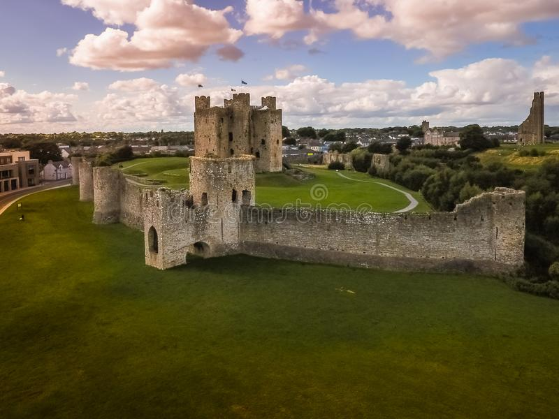Aerial view. Trim Castle. county Meath. Ireland stock photo