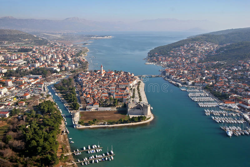 Aerial view of Trogir old unesco town with marina stock photos