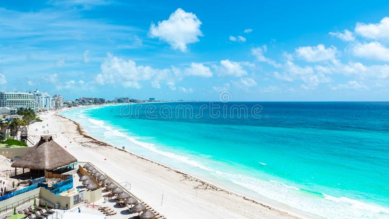Aerial View of the tropical Caribbean beach royalty free stock photography