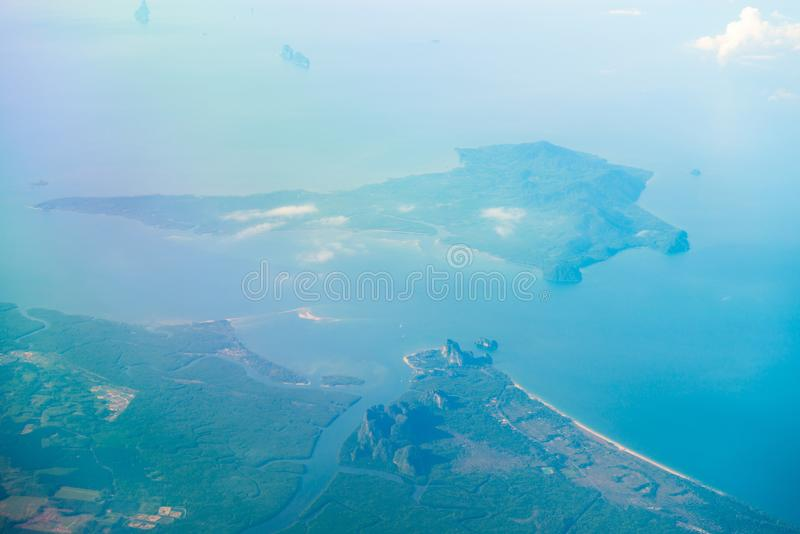 Download Aerial View Of The Tropical Island In Blue Sea Water Stock Photo - Image: 102084354