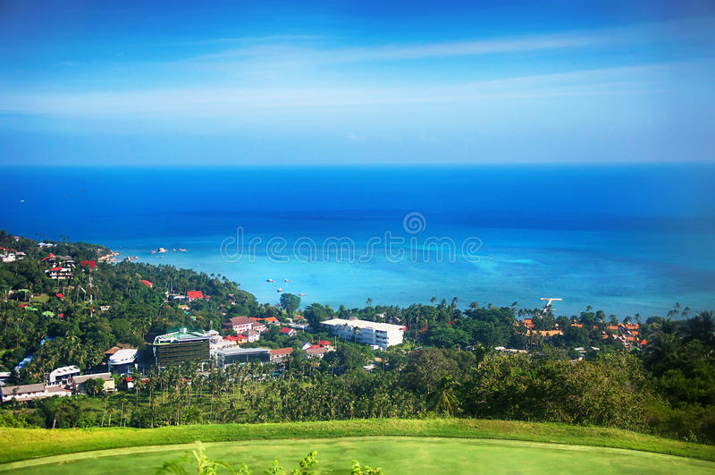 Aerial view of the tropical lagoon. royalty free stock photo
