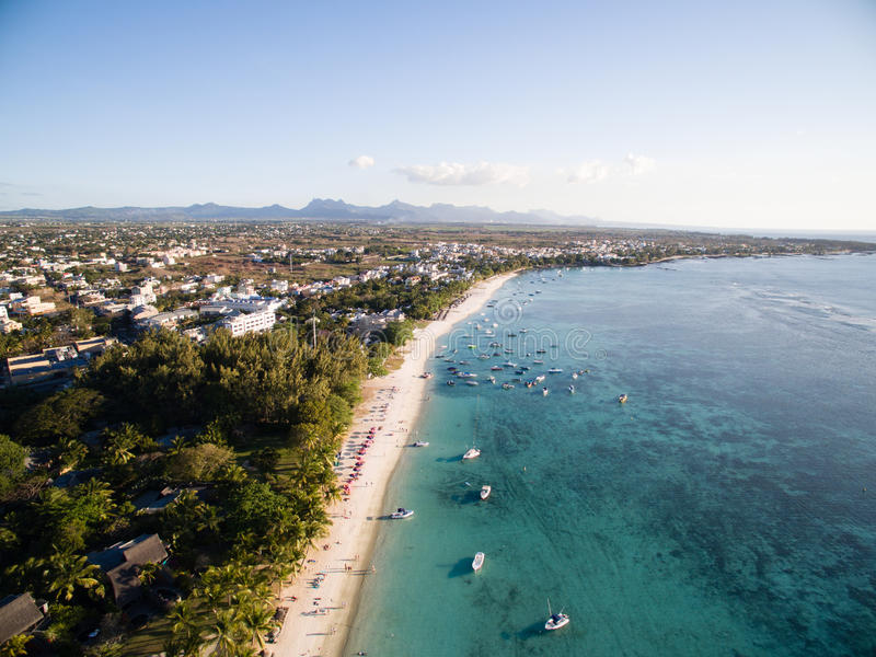 Aerial View: Trou aux Biches Beach royalty free stock image