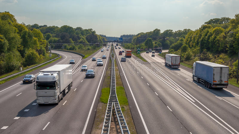 Aerial view of Trucks and cars on the A12 Freeway royalty free stock photos