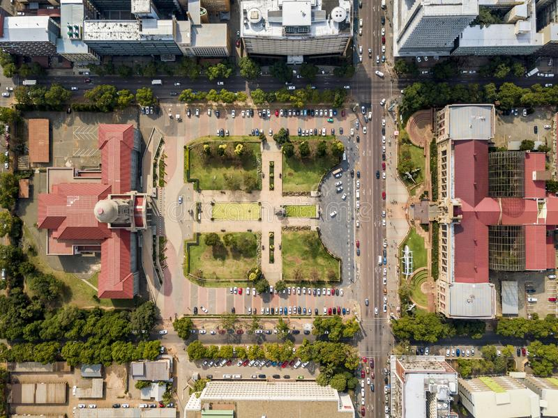 Aerial view of Tshwane city hall and Museum of Natural History iin the heart of Pretoria, South Africa. Aerial view of Tshwane city hall and Ditsong National stock photos