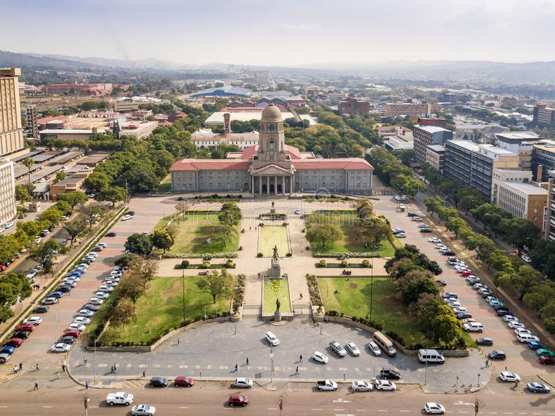 Aerial view of Tshwane city hall in the heart of Pretoria, South Africa. Aerial view of Tshwane city hall in the heart of Pretoria, capital city of South Africa stock image