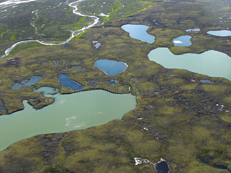 Aerial view on tundra landscape royalty free stock photo