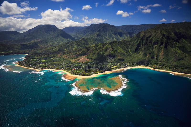 Aerial View of Tunnels on Kauai stock photography