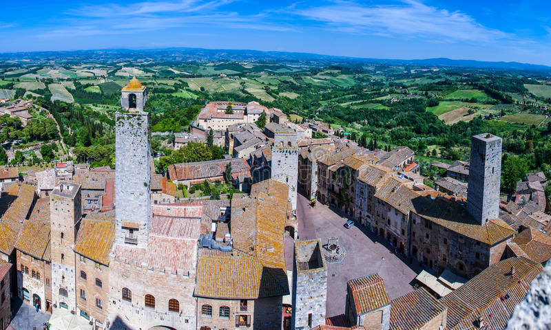 Aerial view from Tuscan City of San Gimignano, Tuscany, Italy stock photography