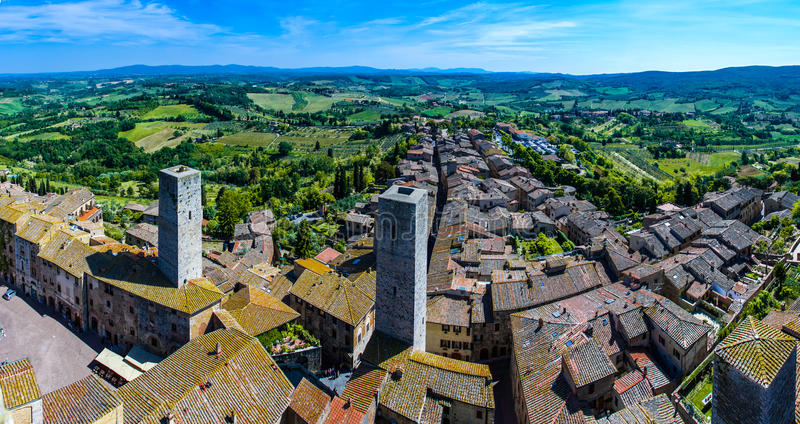 Aerial view from Tuscan City of San Gimignano, Tuscany, Italy stock images
