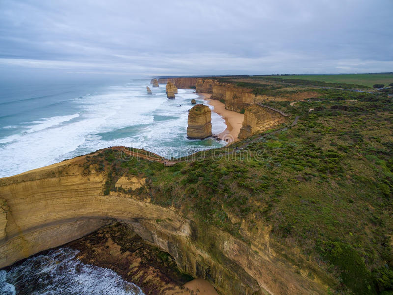 Aerial view of the Twelve Apostles. And the lookout area royalty free stock photo