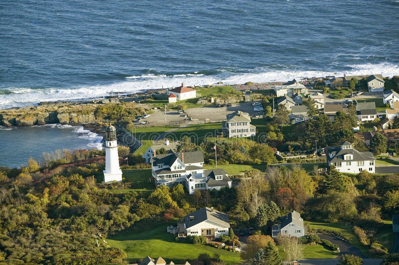 Aerial view of Two Lights Lighthouse on the oceanfront in Cape Elizabeth, Maine coastline south of Portland stock photography