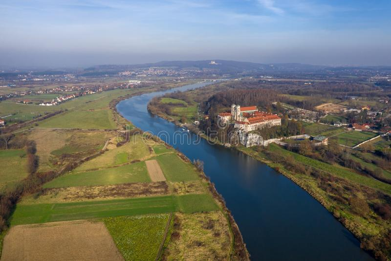 Aerial view of Tyniec Benedictine abbey, Vistula river, Cracow and Silver Mount with Camaldolese Hermit Monastery. Poland, autumn royalty free stock image