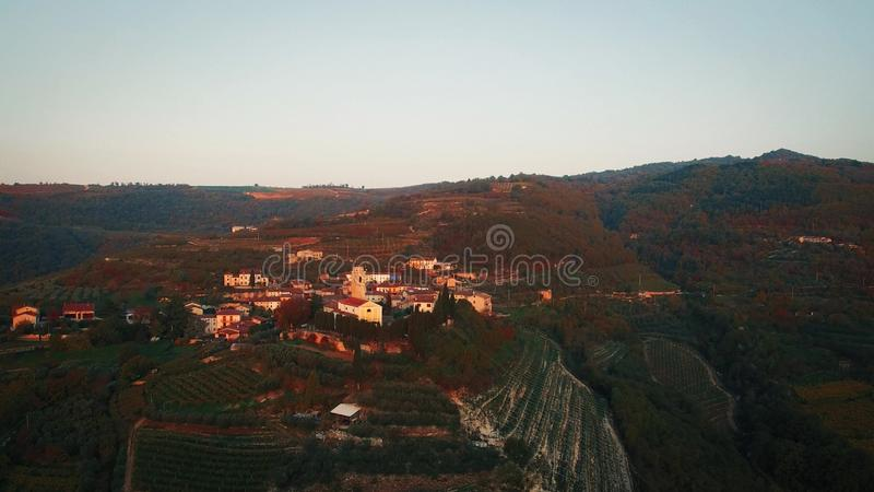 Aerial view of a typical small village in the Italian hills royalty free stock image