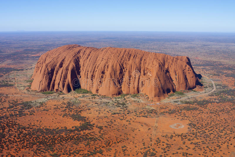 Aerial View of Uluru (Ayers Rock). In the Australian Northern Territory's Outback stock photo