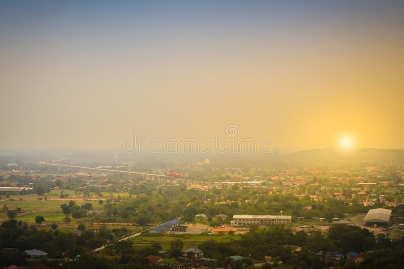 Aerial view of the under construction of the new motorway construction site project, started from Saraburi province to Nakhon Ratc royalty free stock photography