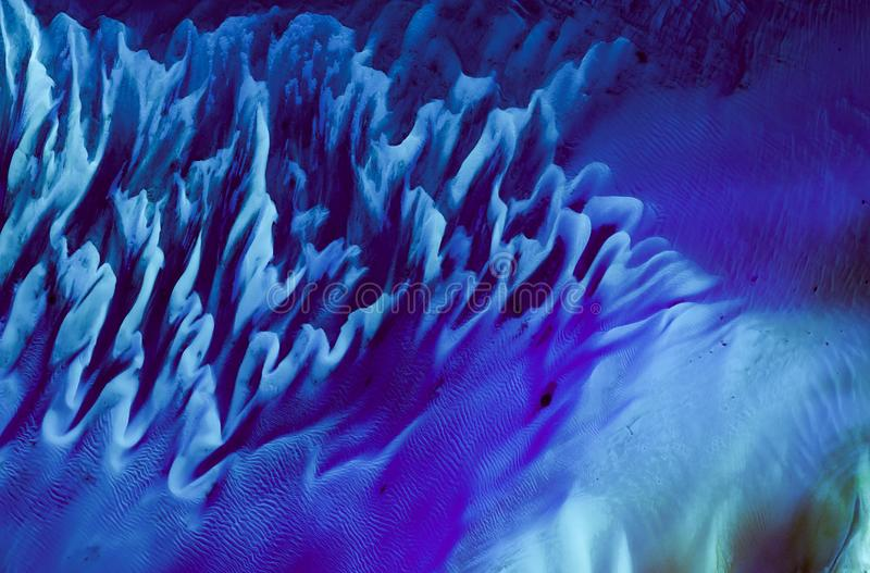Aerial view on underwater sandbank structures, satellite picture, natural background texture, Bahamas stock images