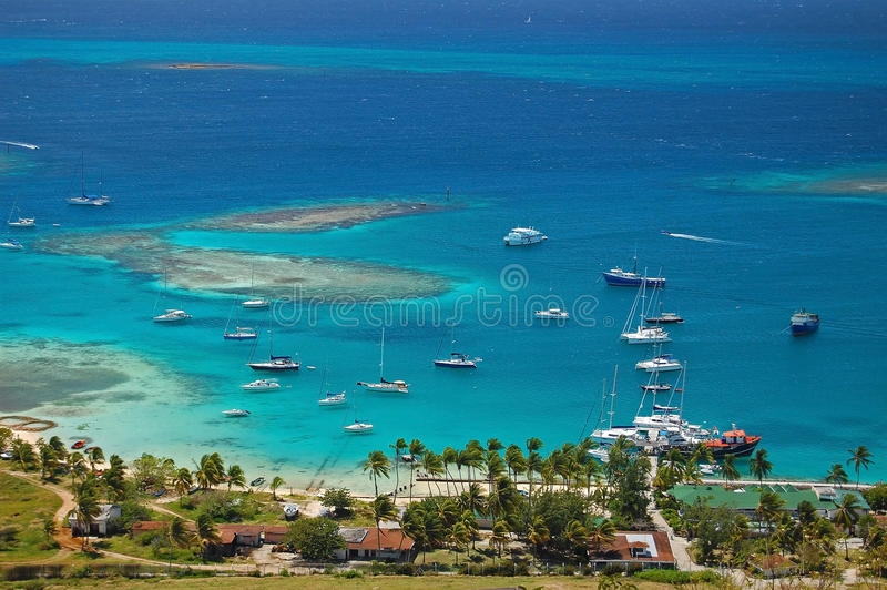 Download Aerial View Of Union Island Yacht Club Lagoon Stock Image - Image: 18855593