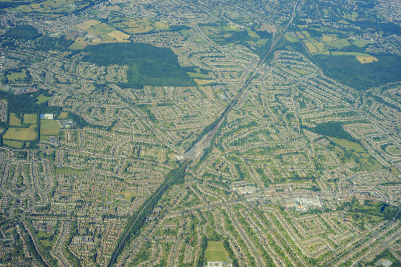 Aerial view of United Kingdom. Aerial View of Orpington in morning, United Kingdom stock image