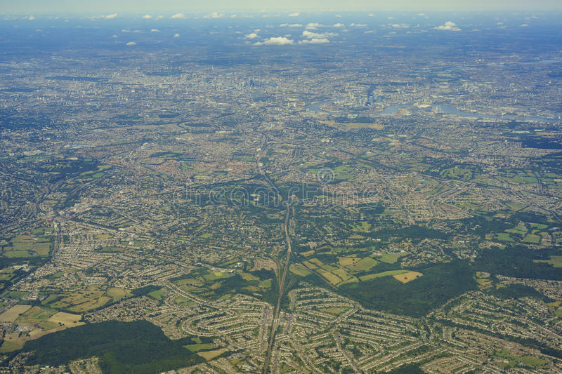 Aerial view of United Kingdom. Aerial View of Orpington in morning, United Kingdom stock photos