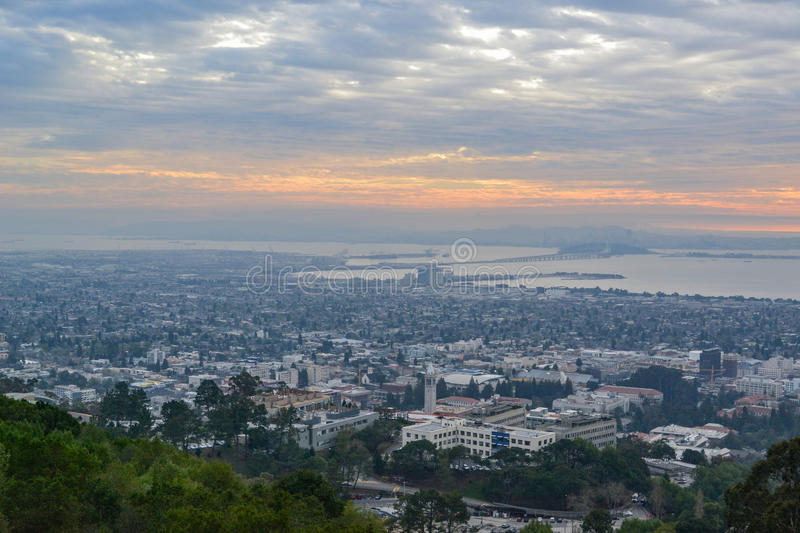 Aerial View of the University of California Campus and San Francisco Bay Area royalty free stock photos