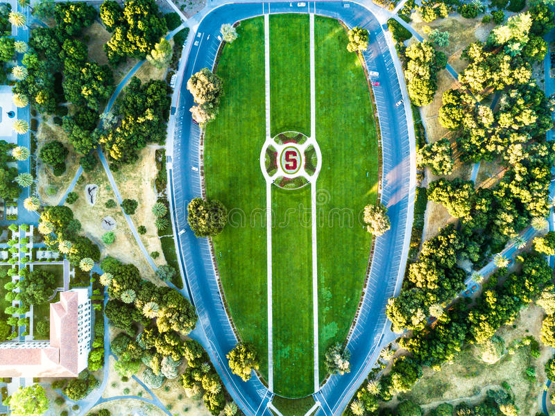 Aerial view of University logo at Main Camus of Stanford royalty free stock photos
