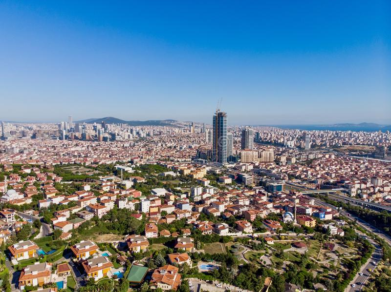 Aerial View of Unplanned Urbanization Uskudar Camlica Highway in Istanbul Turkey. Cityscape royalty free stock images