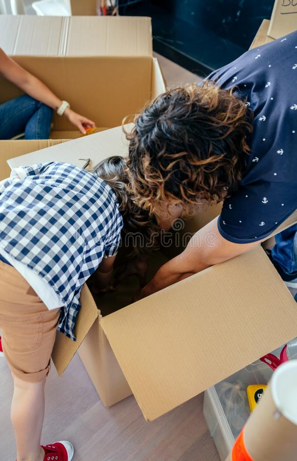 Father and son assembling moving box royalty free stock photo