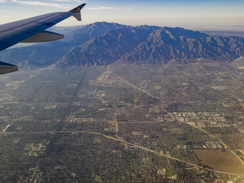Aerial view of Upland, Claremont view from window seat in an air. Plane, California, U.S.A stock images