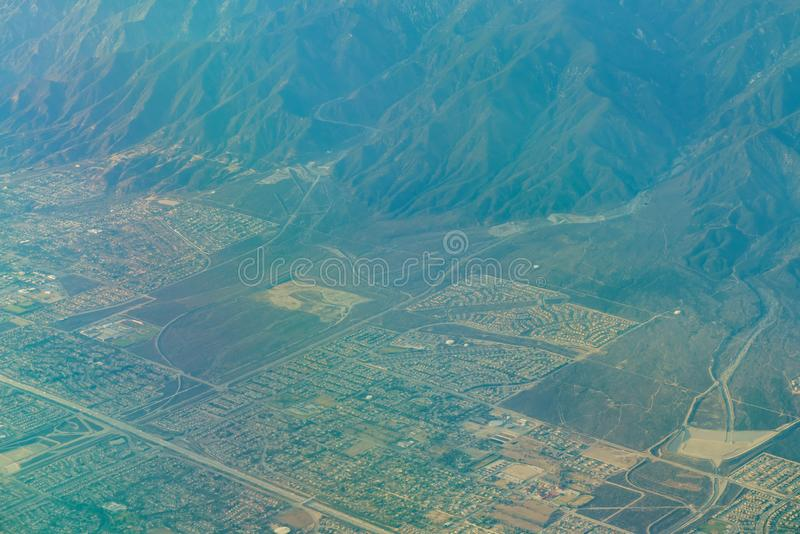 Aerial view of Upland, Rancho Cucamonga, view from window seat i. N an airplane, California, U.S.A royalty free stock photo