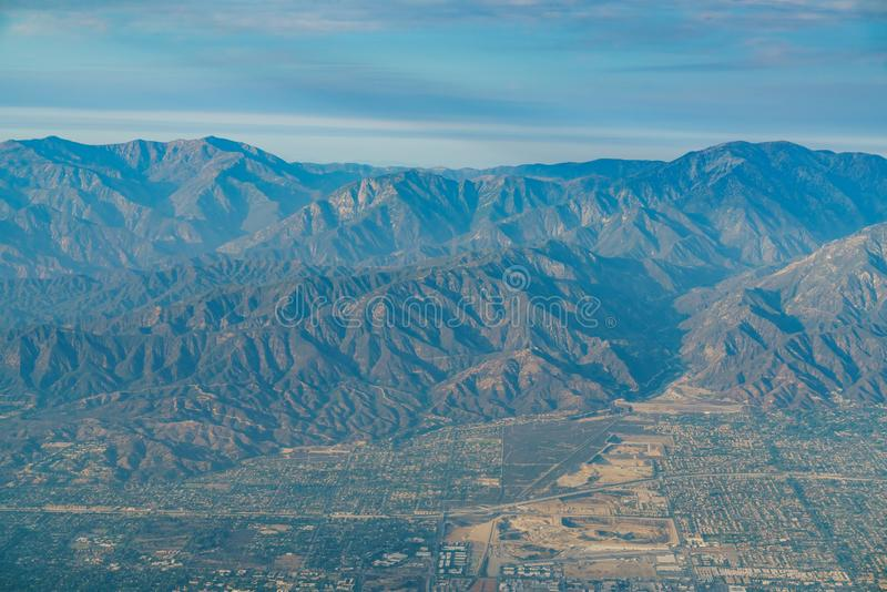Aerial view of Upland, Rancho Cucamonga, view from window seat i. N an airplane, California, U.S.A royalty free stock photos