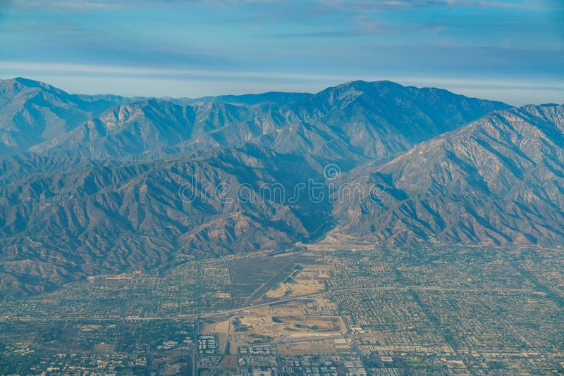 Aerial view of Upland, Rancho Cucamonga, view from window seat i. N an airplane, California, U.S.A stock photos