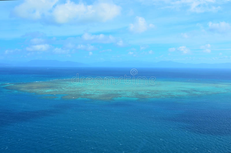Aerial view of Upolu coral reef at the Great Barrier Reef Queen. Aerial view of Upolu coral reef at the Great Barrier Reef near Cairns in Tropical North royalty free stock photo