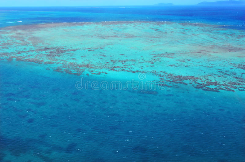 Aerial view of Upolu coral reef at the Great Barrier Reef Queen. Aerial view of Upolu coral reef at the Great Barrier Reef near Cairns in Tropical North stock photography