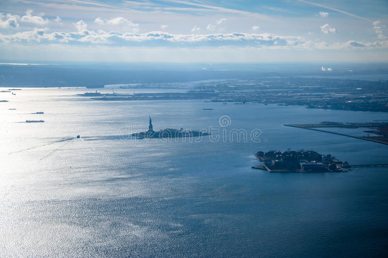 Aerial view of Upper New York Bay with Liberty Island and Liberty Statue - New York, USA. Aerial view of Upper New York Bay with Liberty Island and Liberty stock image