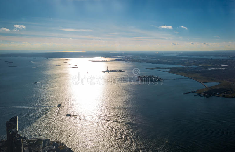 Aerial view of Upper New York Bay with Liberty Island and Liberty Statue - New York, USA. Aerial view of Upper New York Bay with Liberty Island and Liberty royalty free stock photography